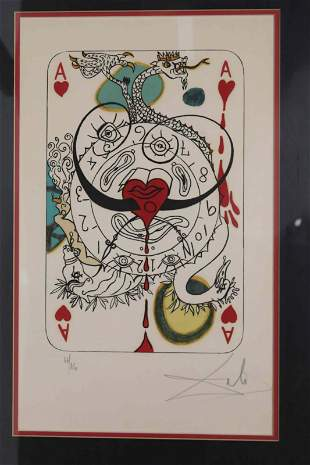 "Salvador Dali ""Ace of Hearts"" Pencil signed Litho"