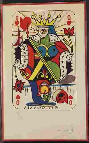 "Salvador Dali 1904 - 1989 ""Queen of Hearts"" Litho"