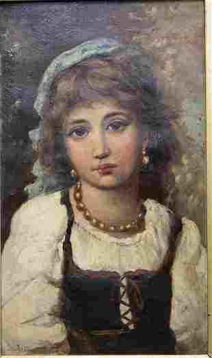 Lajos Bruck (Hungary 1846-1910) Painting of a Girl