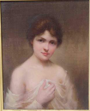 19c Oil Painting on Canvas of a Young Woman