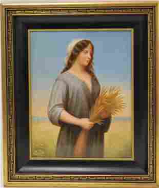 19c Berlin, Germany Porcelain Plaque of Ruth