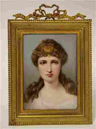 19c Berlin Porcelain Plague of a Young Woman