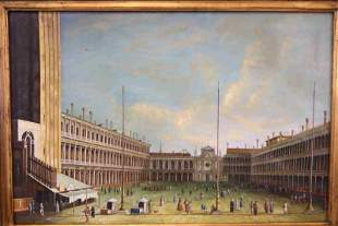 "19c Venetian School Painting ""Courtyard Scene"""