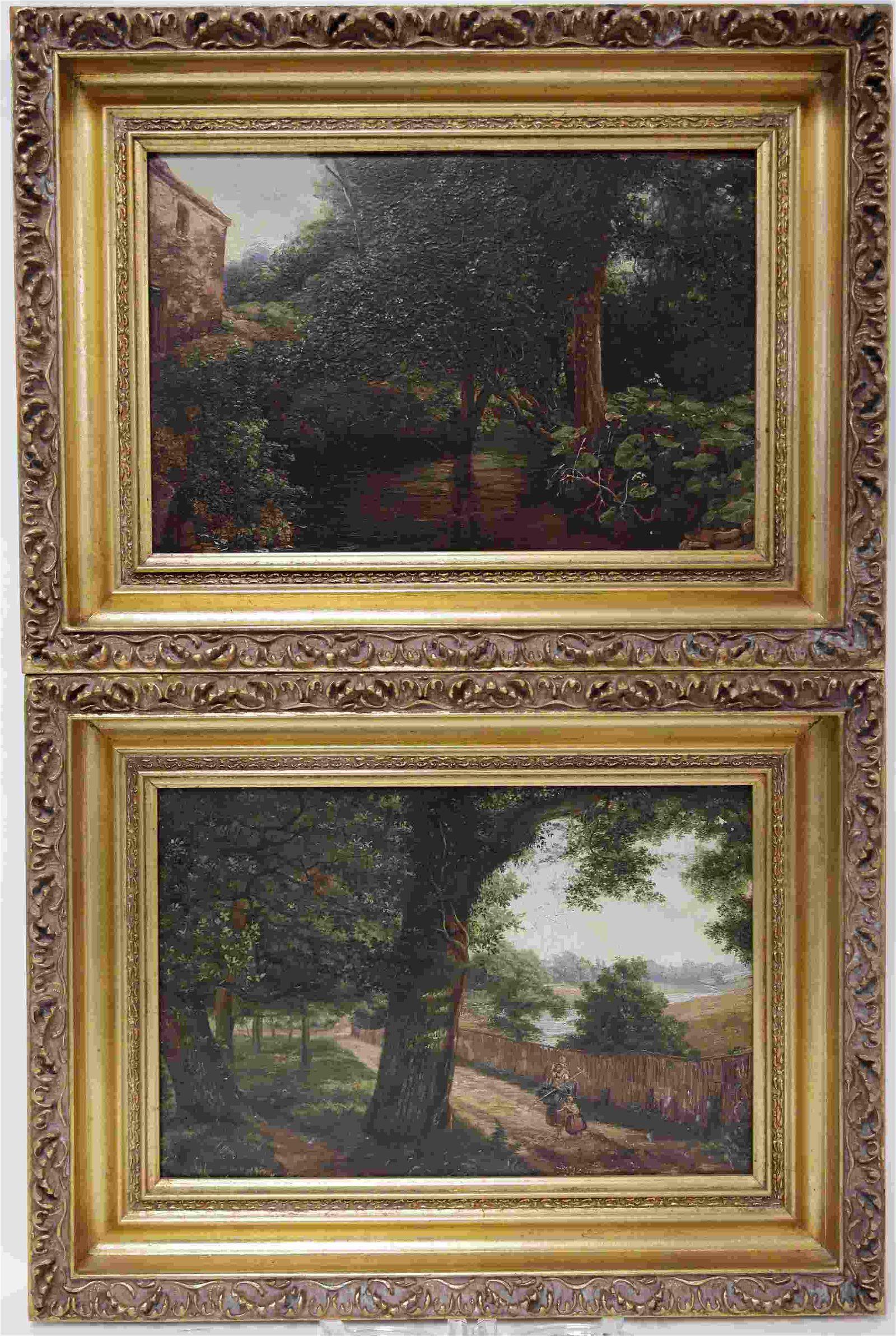 Pair 19c Pastoral Oil Paintings on Board