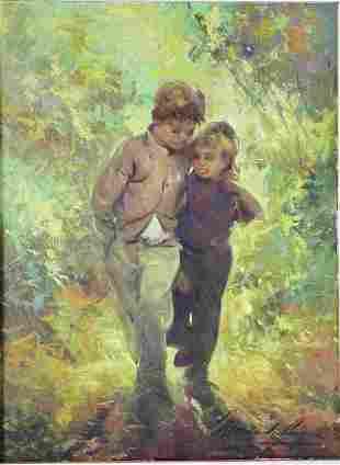 Morando Luque (Argentinean 1915) Painting Children