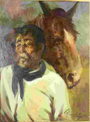 Morando Luque (Argentinean b1915) Old Man w Horse