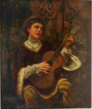 G. Brightwell 1891 Oil Painting of a Musician