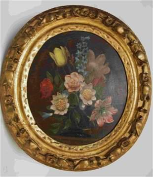 19c Floral Still Life Wood Panel w Circular Frame