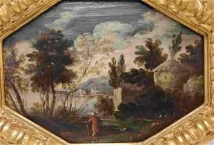 19c Romance Era Continental Painting on Board