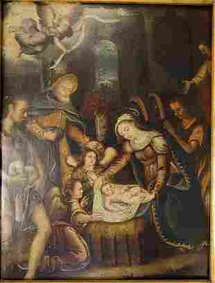 """18c Baroque Religious Painting """"Birth of Christ"""""""