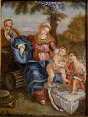 18th Century Baroque Oil Painting on Copper