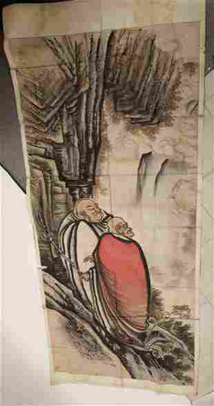 Very Large 18/19C Chinese Painting on Rice Paper