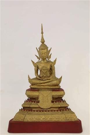 Vintage Lumbini Form Bronze Sculpture of Buddha