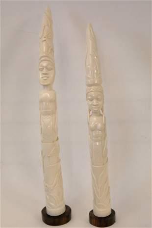 Pair Vintage African Carved King & Queen Figures