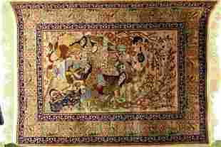 Vintage Qum Silk (Persian Tableau) Pictorial Rug
