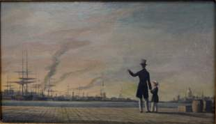 19c Painting by Sterner Merchant & Son at Shipyard