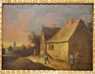 Old Master Oil Painting on Oak Panel w Rural Scene