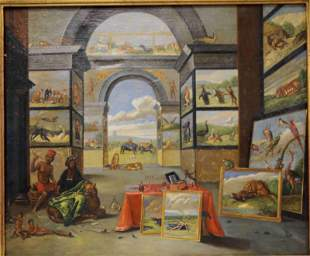 19c Oil on Canvas Painting With-in a Painting