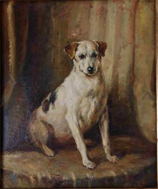 """19c """"Portrait of a Dog"""" oil canvas, Artist signed"""