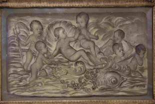Theo Van Gogh signed Painting Cherubs w Dolphins