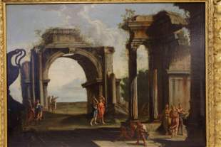 18c Old Master Painting People in Roman Courtyard