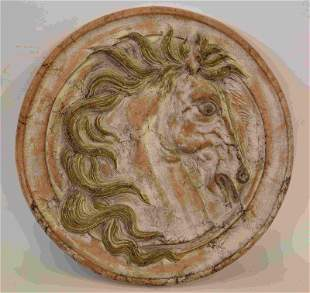 Lg 19c Italian Terracotta Rondelle w Horse Head