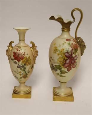 19c Royal Worcester Figural Vase & Ewer