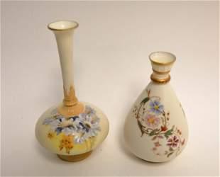 (2)19c Royal Worcester English Porcelain Bud Vases