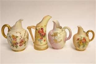 (4) 19c Royal Worcester English Porcelain Creamers