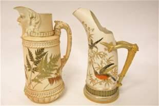 (2) 19c Royal Worcester Porcelain Water Pitchers