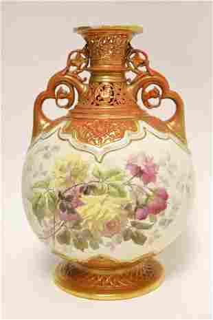 Large 19c Royal Worcester English Porcelain Vase