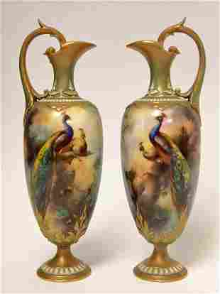 Pr Royal Worcester Ewers Painted w Peacocks Signed