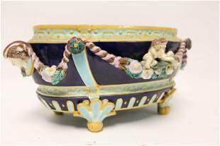 19c French Majolica Figural Center Piece Bowl