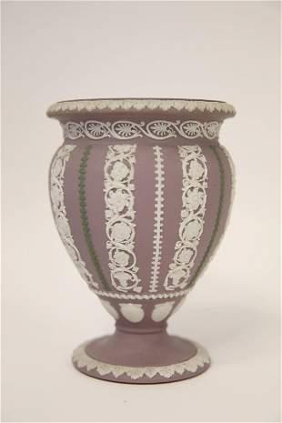Antique 3 Color Wedgewood Footed Urn Form Vase
