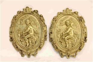 Pr 19c French Dore Bronze Figural Wall Plaques
