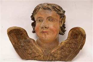 17/18 Century Painted Wood Seraphim Angel