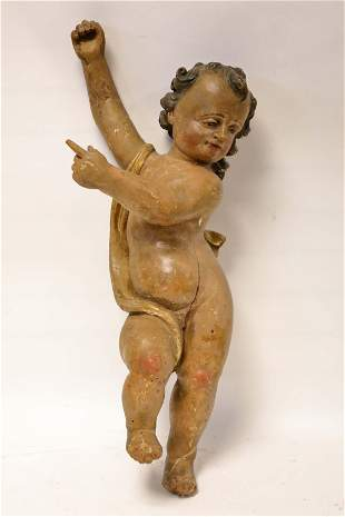 17c Baroque Painted Wood Pointing Angel
