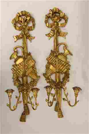 Pair French Louis XV Gilt Wood Candle Sconces