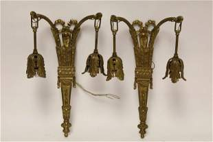 Pair Antique French Bronze 2-Light Wall Sconces