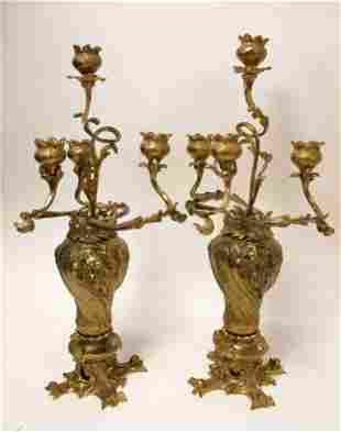 Pr 19c French Art Nouveau 4 light Candelabra