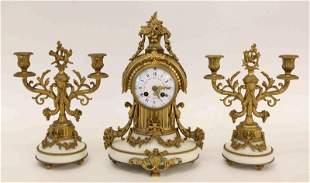 19c French Empire Bronze & Marble 3pc Clock Set