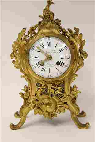 19c French Dore Bronze Mantel Clock