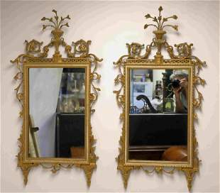 Pair Chippendale Urn & Laurel Gilt Wood Mirrors