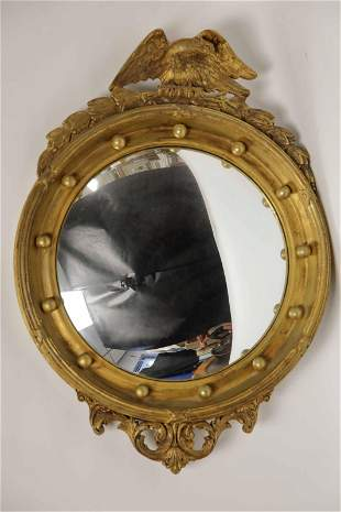19c American Federal Bulls Eye Mirror w Eagle