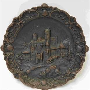19c Cast Iron Souvenir Plaque w bias relief Castle