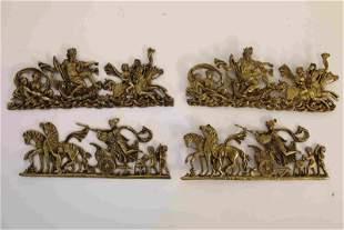(2) pr 19c French Bronze Mounts W Neptune & Diana