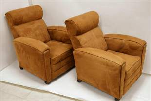 Pair French Art Deco Lounge Chairs