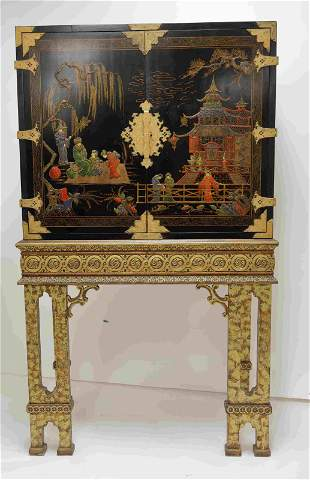 Vintage Chinese Lacquer Chest on Stand Cabinet