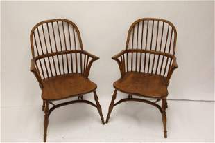 Pair English Bentwood Oak Windsor Arm Chairs