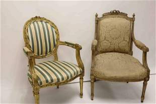 (2)19th C French Louis XV Carved Arm Chairs